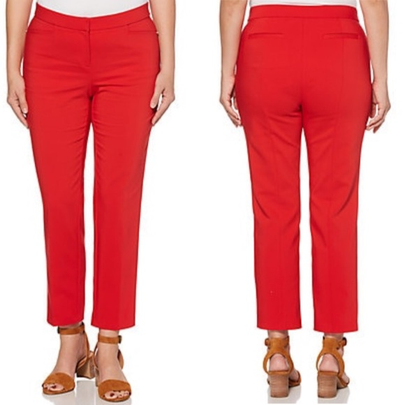 0417feb01 Rafaella Pants | Madalena Ankle Pant True Red Dia Co Nwt | Poshmark
